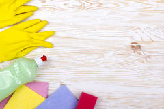 Detergent,sponge, rags and latex gloves Stock Photos