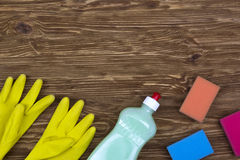Detergent,sponges  and latex gloves Royalty Free Stock Photo