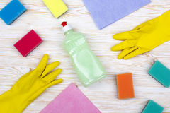Detergent,sponges, rags and latex gloves Stock Photos