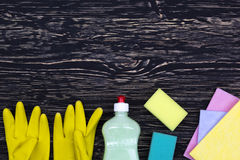 Detergent,sponges, rags and latex gloves Royalty Free Stock Photos