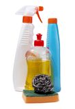 Detergent tools. Color photo of bottles of detergent Stock Images
