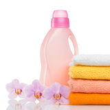 Detergent for washing machine in laundry with towels Royalty Free Stock Image