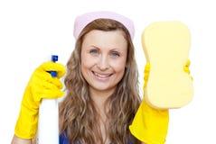 detergentowa mienia gąbki kiści kobieta Obrazy Stock