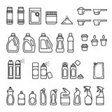 Detergents. Chemicals for cleaning and disinfection bottles icons. stock photo