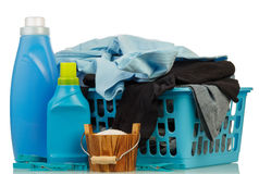 Detergents and clothes in baske Royalty Free Stock Photography