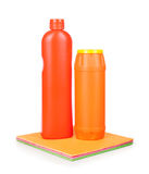 Detergents and colorful cloth Royalty Free Stock Photos