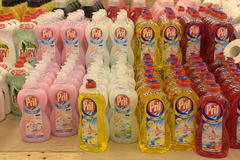 Detergents for dishes in a store Stock Photography