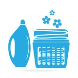 Detergents icon sign, Detergents and fabric in basket icon. Illustration Royalty Free Illustration
