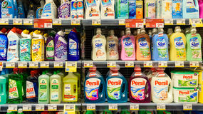 Detergents For Laundry Cleaning On Supermarket Shelf Stock Photos