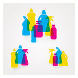 Detergents set. Abstract composition of transparent colorful detergents set Royalty Free Stock Image