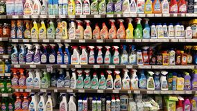 Detergents in supermarket. Detergents shelves in Cosmos store in Thessaloniki, Greece Stock Photography