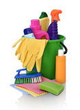 Detergenty dla czyścić w zielonym pail fotografia royalty free