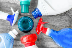 Detergenty, tkanin softeners i ciekła doser miarka dla myć, Obrazy Royalty Free