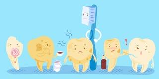 Deterioração de dente dos desenhos animados Imagens de Stock