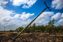 Deteriorated Electric Post on Desolated Grounds Stock Photography