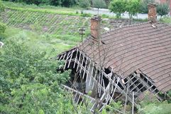 Deteriorated roof. From abandoned house royalty free stock photos