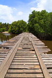 Deteriorated wooden bridge Stock Photos