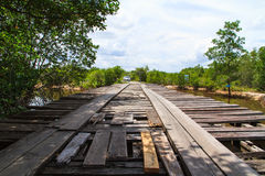 Deteriorated wooden bridge Royalty Free Stock Photo