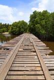 Deteriorated wooden bridge Stock Photos
