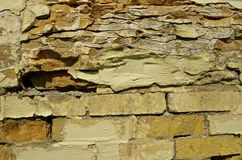 Deteriorating brick and slate wall Royalty Free Stock Image