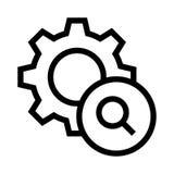 Determinación de la línea icono del vector de la búsqueda stock de ilustración