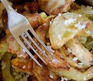 Determinada espécie de abóbora apetitosa do jardim da fritada com tempero de alho Fotos de Stock
