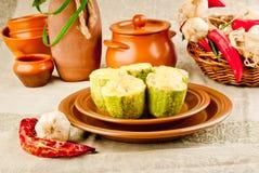 A determinada espécie de abóbora vegetal encheu cozido com queijo Imagens de Stock