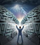 Determination To Succeed. With a business man with arms in the air magically opening up and parting a complicated maze to a clear path to success with dramatic royalty free illustration