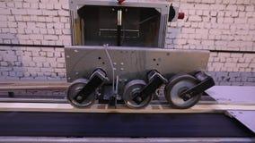 Determinazione automatica della lunghezza di un fascio di legno, trasportatore moderno, linea automatizzata, fabbricazione modern stock footage