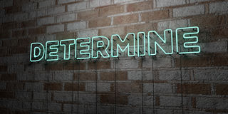DETERMINE - Glowing Neon Sign on stonework wall - 3D rendered royalty free stock illustration Royalty Free Stock Images
