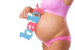 Determine o sexo do bebê durante a gravidez Menino, menina, ou gêmeos Foto de Stock Royalty Free