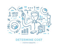 Determine Startup Cost. Man does calculations and analyze data. Hand drawn line  illustration of determining the cost of new business, product or service. Series Stock Image