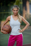 Determined basketball player royalty free stock photography