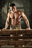 Determined bodybuilder standing behind pallet. Determined asian male bodybuilder standing behind pallet, looking down Royalty Free Stock Image