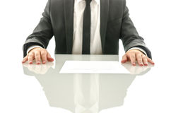 Determined business man with contract Stock Images