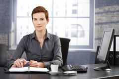 Determined businesswoman at work. Determined businesswoman sitting at desk, working with personal organizer, looking at camera Stock Photography