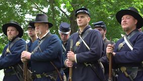 Determined Civil War soldiers in a group. View of Determined Civil War soldiers in a group stock video