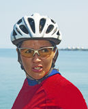 Determined Cyclist Woman Royalty Free Stock Photos