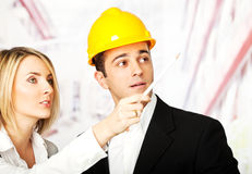 Determined engineers architects Royalty Free Stock Image
