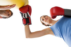 Determined female boxer focused on her training Stock Images