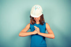 Determined female builder ready for action Royalty Free Stock Photo