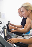 Determined fit couple working on exercise bikes at gym Stock Photos