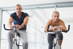 Determined fit couple working on exercise bikes at gym Stock Images