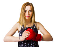 Determined fitness girl on white background Royalty Free Stock Photos