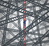 Determined Focus. Business concept with a courageous businessman climbing up a red success ladder while avoiding the chaos of confusing and dangerous Stock Photography