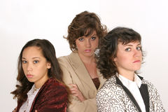 Determined force. Three woman determined to get their point across in a work environment Royalty Free Stock Photo