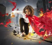 Determined hero businesswoman Stock Photography