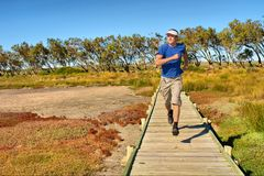 determined jogs man woodwalkbarn Arkivfoto