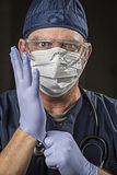 Determined Looking Doctor or Nurse with Protective Wear and Stet Stock Photos