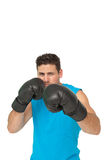 Determined male boxer focused on his training Stock Photography